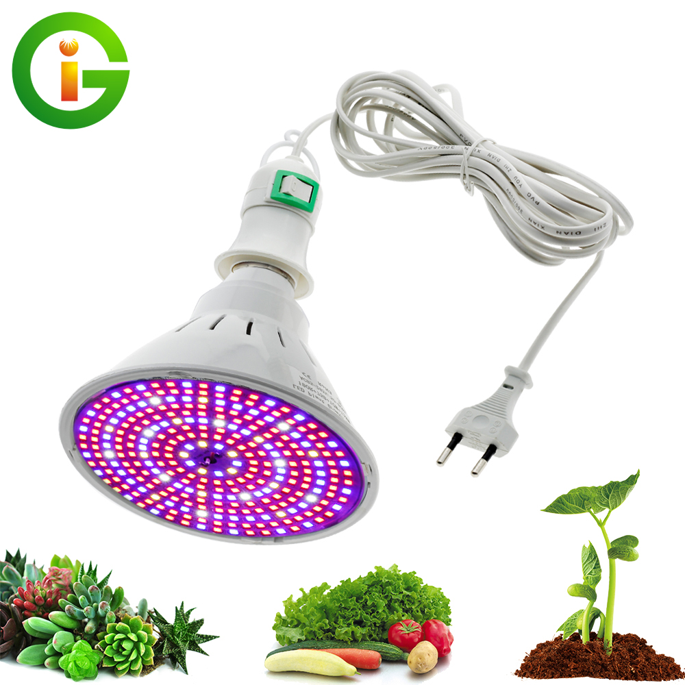 LED Plant Grow Light Bulb E27 Full Spectrum Growing Lamp 290 LEDs 200 LEDs Grow Bulb   4M 8M Switch Line for Greenhouse Plants