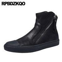 Ботинки из натуральной кожи высокого качества с натуральным лицевым покрытием осенние мужские ботинки топ черный молния тренер зима украш