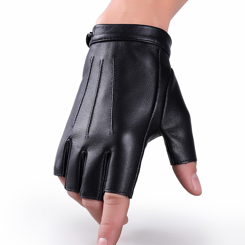 Men/Women Half Finger Genuine Leather Sheepskin Half Finger Gloves Thin Breathable Outdoor Sports Fitness Driving Gloves A57