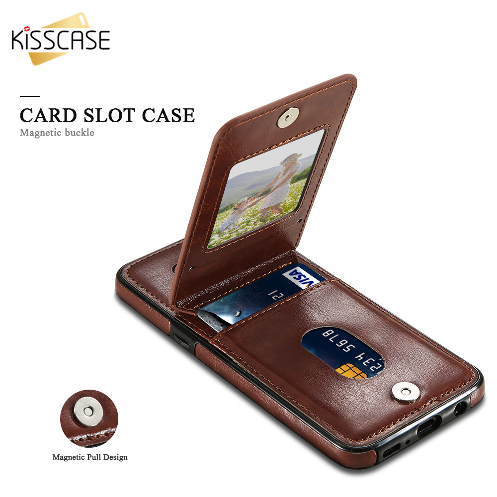 Kisscase Wallet Leather Cases For Samsung Galaxy S7 Edge S8 S9 Plus Led Cover Note9 Brown Card Slots Case S6 Note 9 Capa