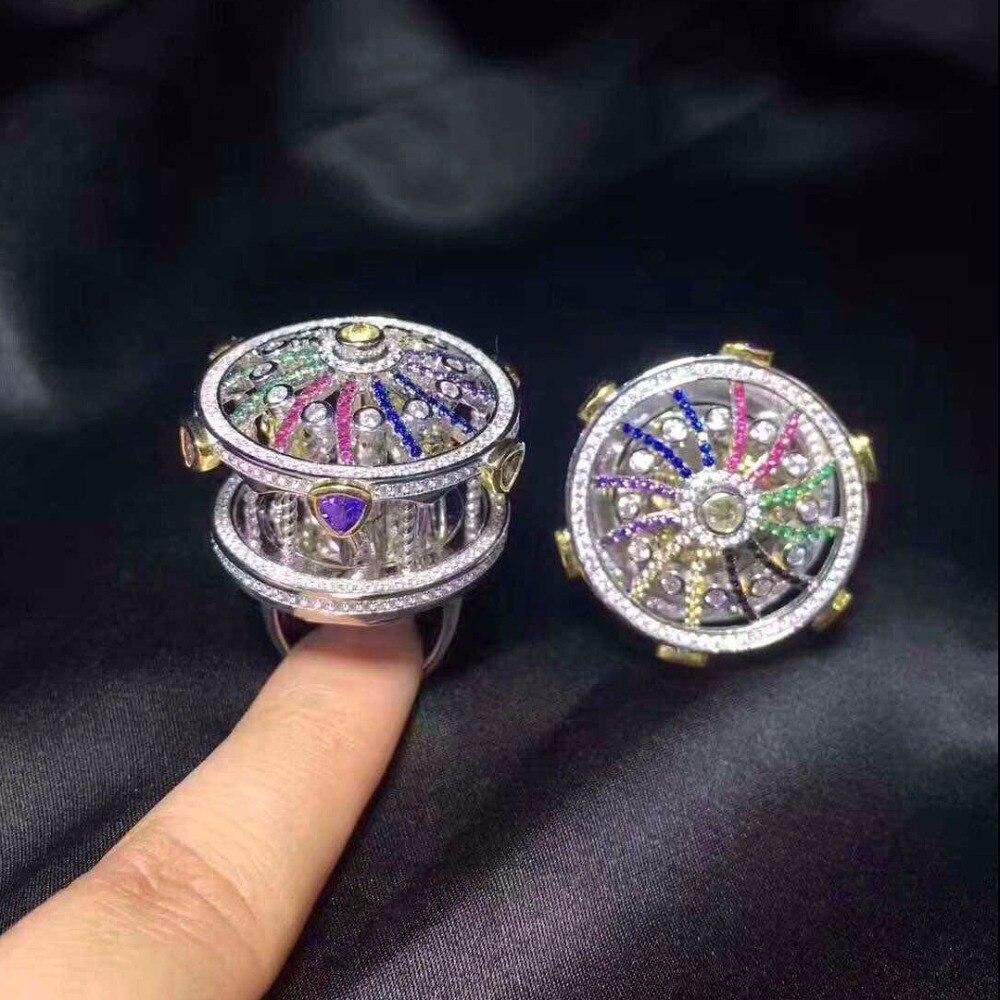 Anillos Qi Xuan_Trendy bijoux _femme carrousel Rings_S925 solide argent mode à la mode rings_fabricant directement ventes