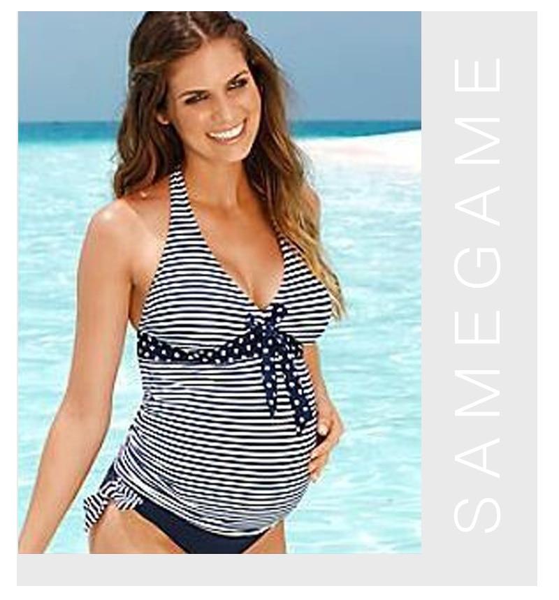 Stripes Pregnancy Swimsuit Women Two Pieces Swimwear Pregnancy Tankinis Set Vintage Pregnancy Bathing Suits Plus Size Swimsuits