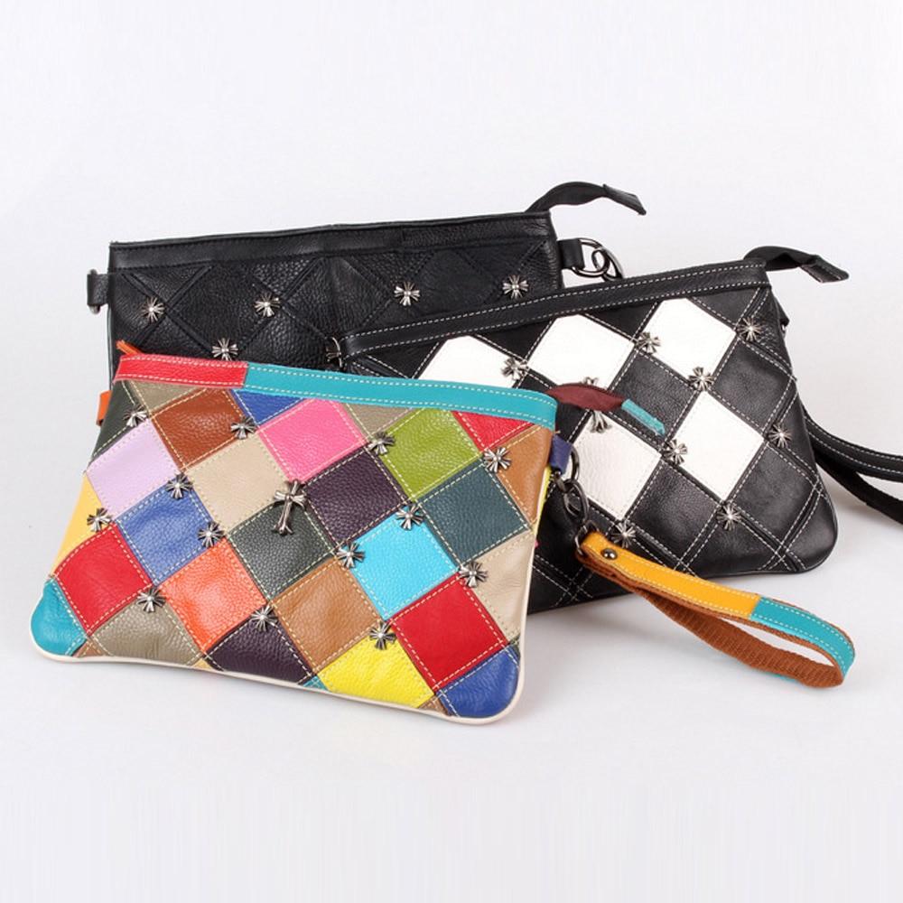 ФОТО Caerlif Brand genuine leather bag colorful stripe weave Vintage national wind shoulder bags female bag women messenger bags