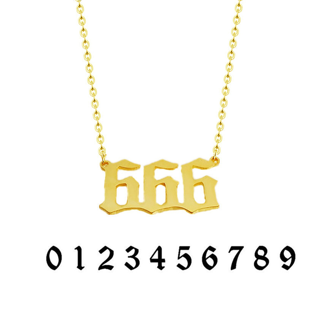 Personalized Old English Font Lucky Number Pendant Necklace Custom Made Up  to 8 Numbers -in Pendant Necklaces from Jewelry & Accessories on