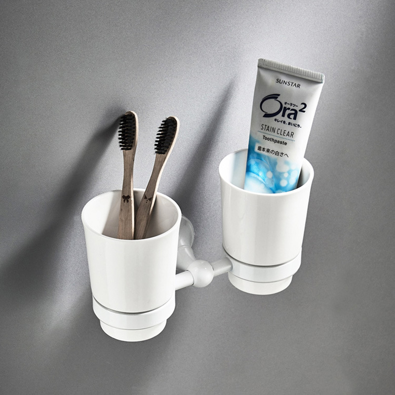 White Tooth Brush Holders Antique Wall Mounted Ceramic Cups Toothpaste Double Tumbler Holder Hardware Bathroom Accessories цена