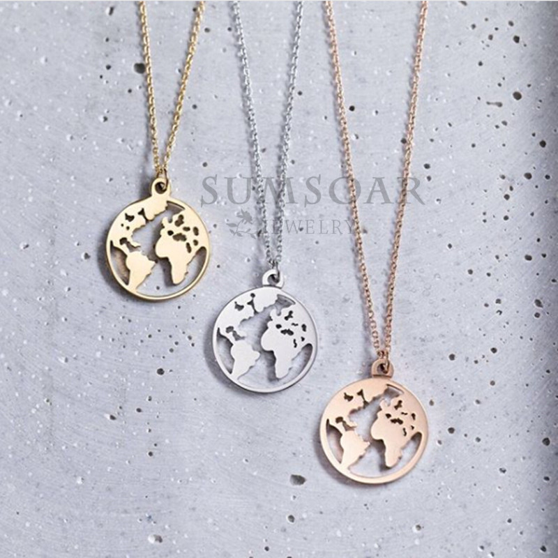 Somsoar Jewelry 2cm Travel the world map Pendant Necklace High Polish Personaliz