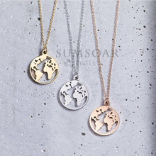 Somsoar Jewelry 2cm Travel the world map Pendant Necklace High Polish Personalized Pendant Necklace with 45cm Chain as Gift 1pcs