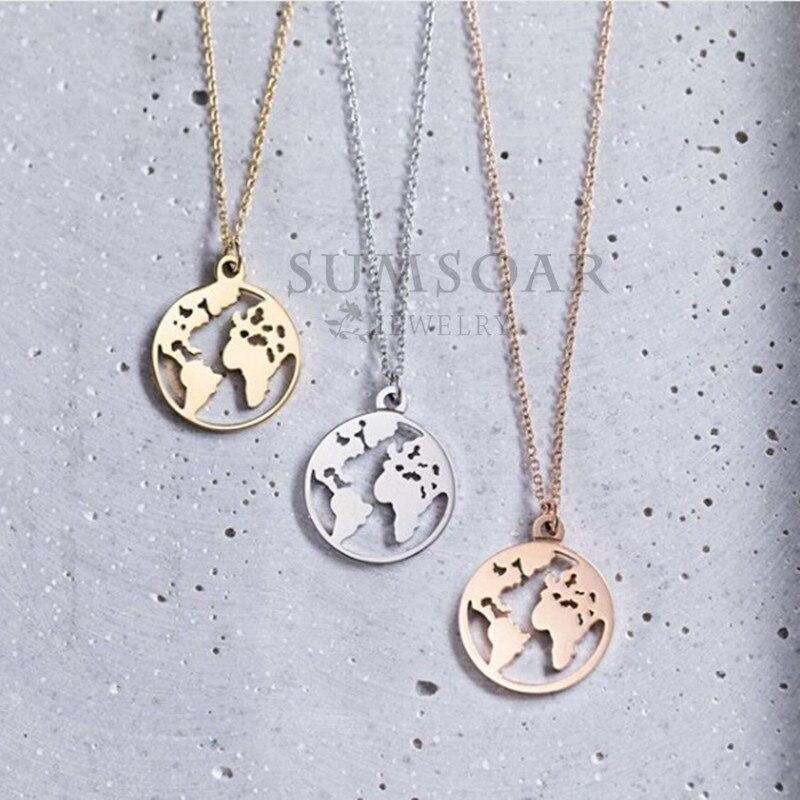 Somsoar de 2 cm viajar por el mundo mapa colgante collar de alta polaco personalizado colgante collar con 45 cm cadena regalo 1 piezas