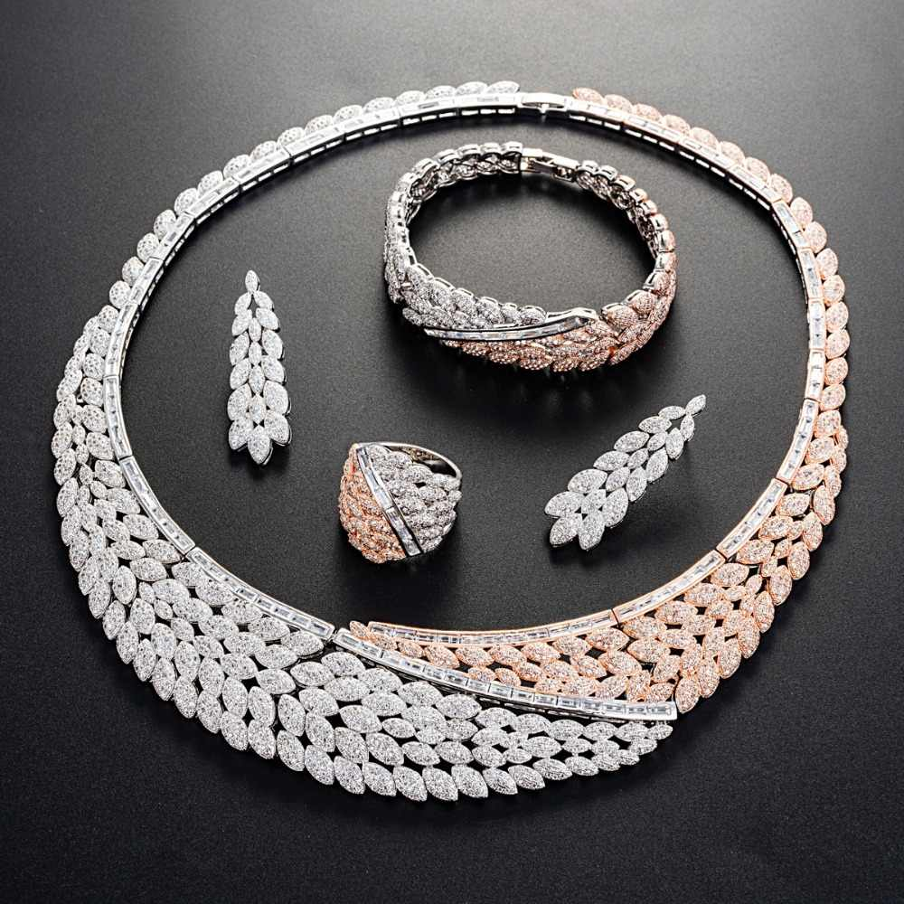 Viennois Merah & Perak Warna Kalung Set untuk Wanita Cubic Zirconia Menjuntai Anting-Anting Cincin Gelang untuk Pesta Pernikahan Perhiasan Set