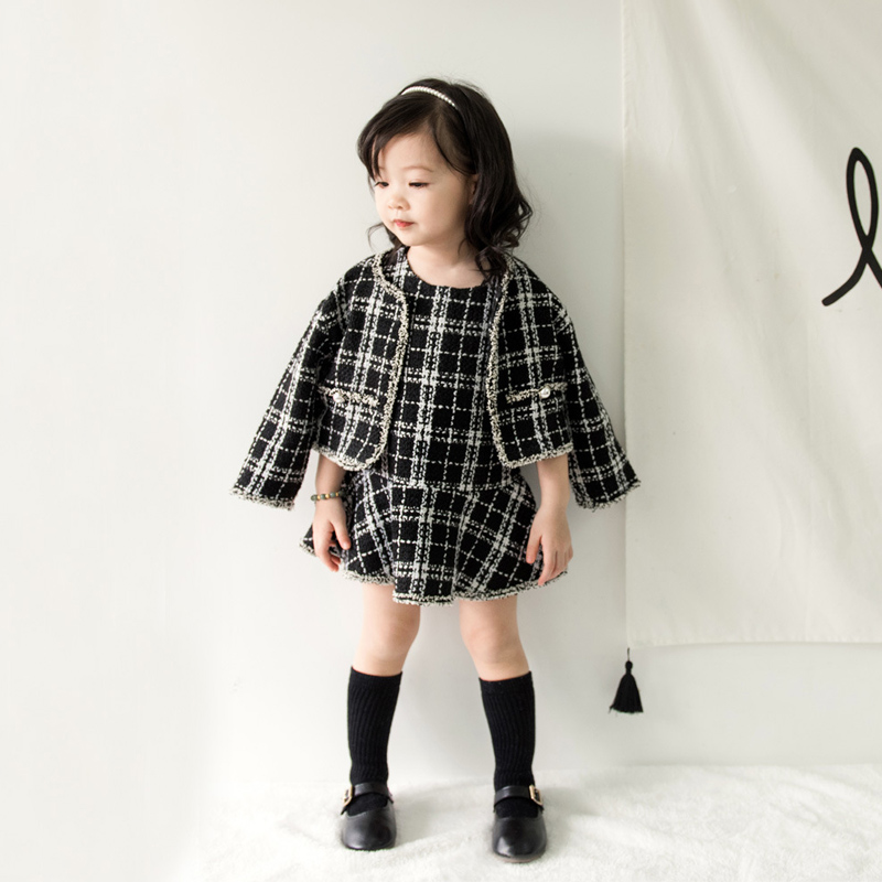 все цены на Girls Clothes Autumn Fashion Children Clothing Set Plaid Outfits 2018 New Long Sleeve Cardigan + Dress Baby Kids Suits 3 6 Years