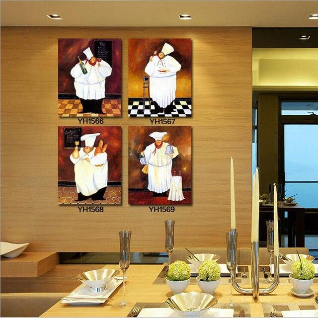 Frameless Modern Cartoon Chefs Canvas Prints Restaurant: Manufacturers Selling Cute Chef Murals Decorative Oil