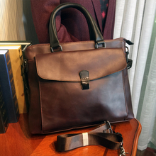 ETONWEAG New 2016 men famous brands cow leather high quality messenger bags brown zipper designer business laptop handbags