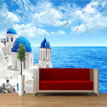 Best quality Mediterranean seascape castle design pattern natural pure wallpaper for home wall decor