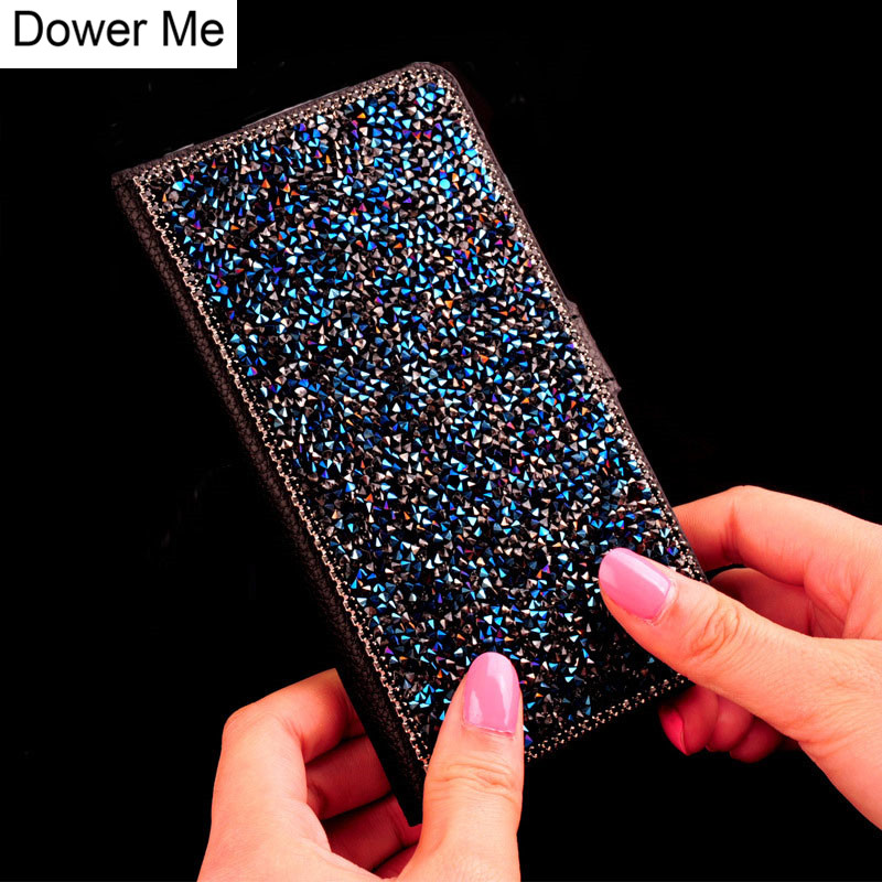 Dower Me Bling Glitter Diamond Stand Wallet Flip Leather Case For Samsung Galaxy S9 S8 S7 S6 Edge Plus S5 Note 8 5 4 3 A8/7/5/3