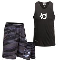 New 1 Set Men's Large Size Loose Basketball Jersey+Shorts KD/KI/KB Combination Training Competition Basketball Sportswear