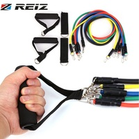 REIZ 11 Pcs Set TPR Pull Rope Fitness Exercises Resistance Bands Crossfit Strength Training Belt Body