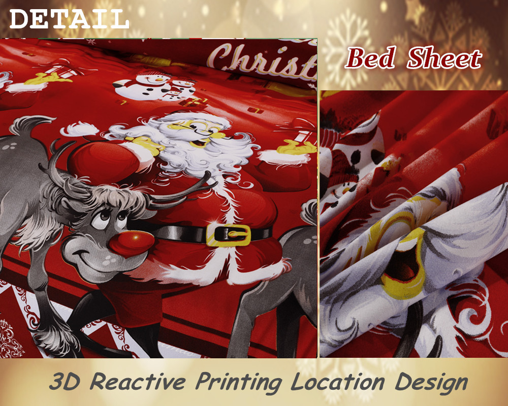 Great For Christmas, Set 4Pcs Christmas Santa Clause, 3D Bedding Set Duvet Cover Set,Sheet, Pillowcase, Sham Covers 3