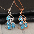 Charm Women's Fashion Blue topaz Pendant pure 925 Solid Sterling Silver necklace with natural high quality topaz stone pendant