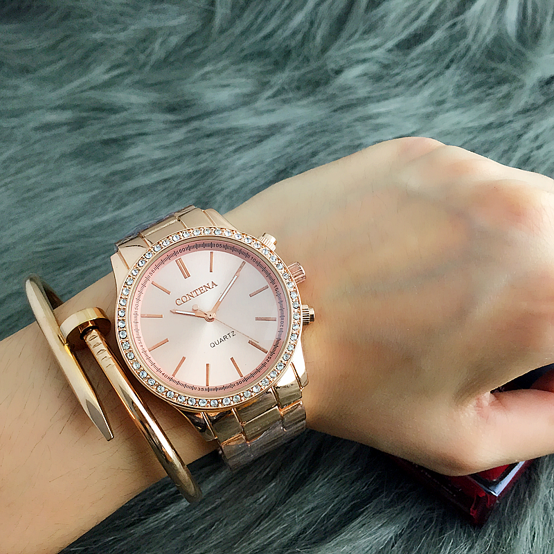 CONTENA Rose Gold Watch Women Watches Rhinestone Women's Watches Fashion Ladies Watch Clock saat relogio feminino montre femme dom fashion quartz women watch rhinestone leather casual dress watches rose gold ladies clock relogio feminino montre femme