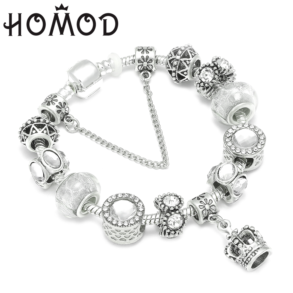 HOMOD Queen Crown Jewelry Silver Charm Bracelet & Bangles With White Murano Beads Fits Brand Bracelet for Women Diy Jewelry пандора браслет с шармами