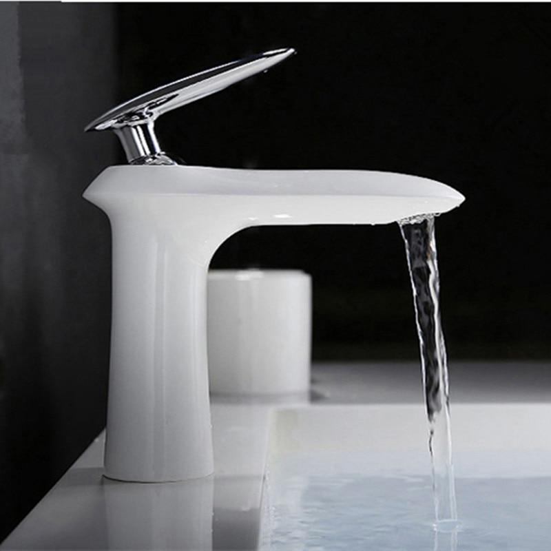 2017 Wholesale Original New Brand Patent Unique Design Brass White Bathroom Faucet Wash Basin Mixer Taps