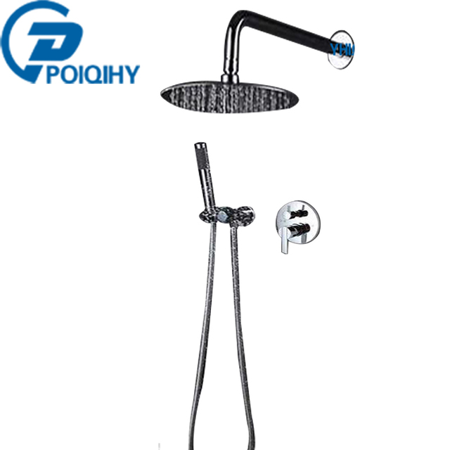 POIQIHY Fashion Style 8u0027u0027 Rainfall Shower Head Dual Handle ABS Handheld  Shower Bathroom Set