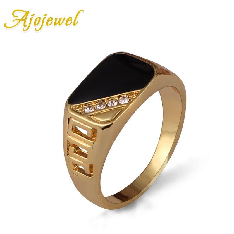 Ajojewel Размеры 7-12 Classic Gold-со стразами Для мужчин кольцо черной эмалью мужской палец Кольца Best продажи