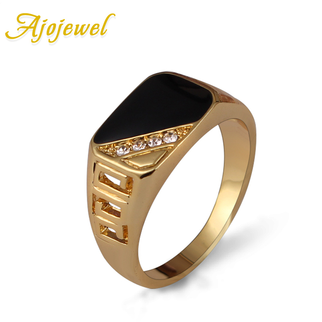 Ajojewel Size 7-12 Classic Gold-color Rhinestone Men Ring Black Enamel Male Fing