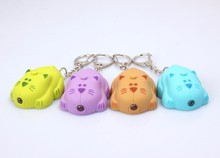 cartoon colorful cat LED sound light key chain flashlight tinted spotted cat creative promotion gifts car bag pendant wholesale