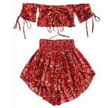 2019 New Slash Neck Floral Print Two Piece Set Women Crop Top High Waist Shorts Sexy Suits Beach Boho Outfits недорого