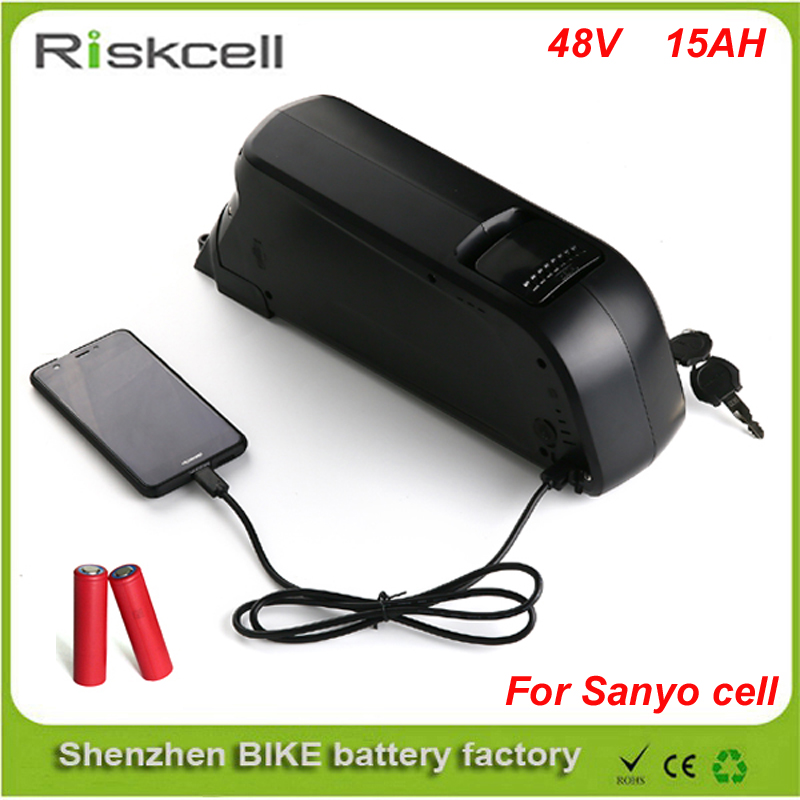 Free   customs tax  Elextric Bike Battery 48v 15ah li ion battery with Sanyo GA 18650 cells for Bafang 8fun 48v 750w ebike moto free customs taxes and shipping rechargeable lithium ion battery 48v 15ah li ion ebike battery for 48v 750w bafang 8fun motor