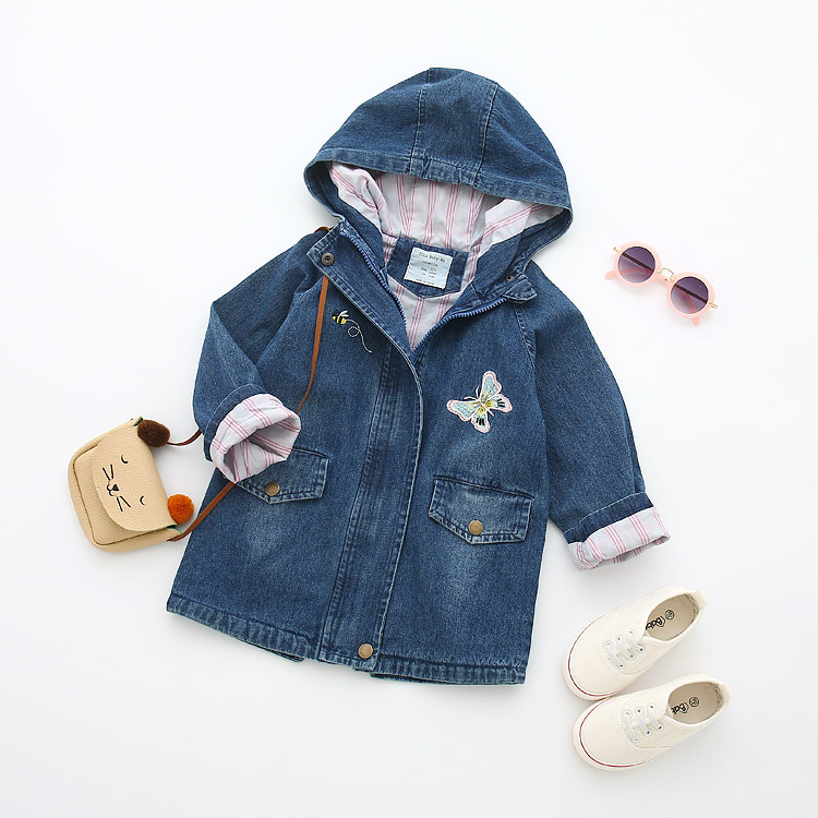 Kids 2018 Fall new girl butterfly embroidery hooded cowboy trench coat blue hooded trench coat with drawstring waist
