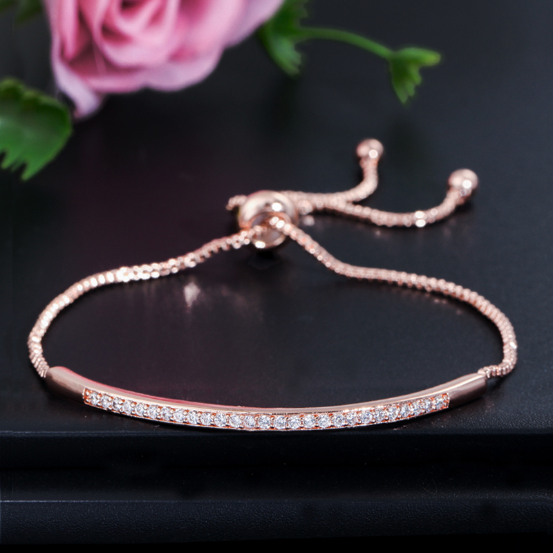 CWWZircons Adjustable Bracelet Bangle for Women Captivate Bar Slider Brilliant CZ Rose Gold Color Jewelry Pulseira Feminia CB089 2