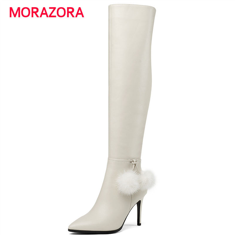 MORAZORA 2018 new autumn winter super high heel over the knee boots pointed toe stiletto heel long boots simple zip shoes women стоимость