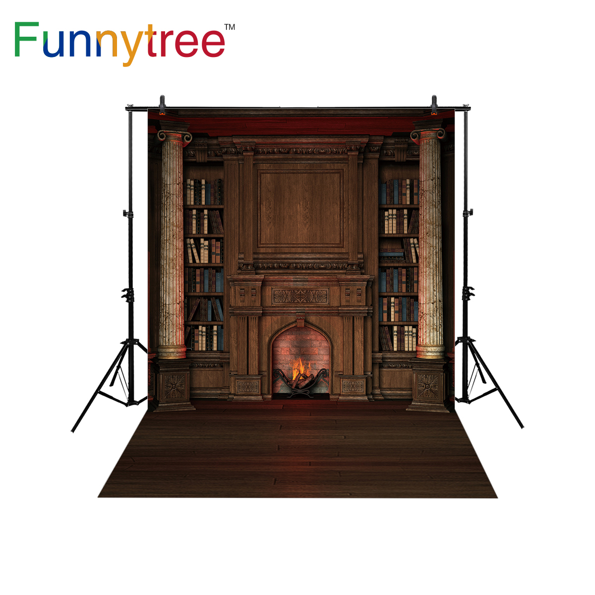 Funnytree Backdrop For Photo Studio Fireplace Western Bookshelf Pillar Vintage Wood Floor Photography Background Photocall In From Consumer