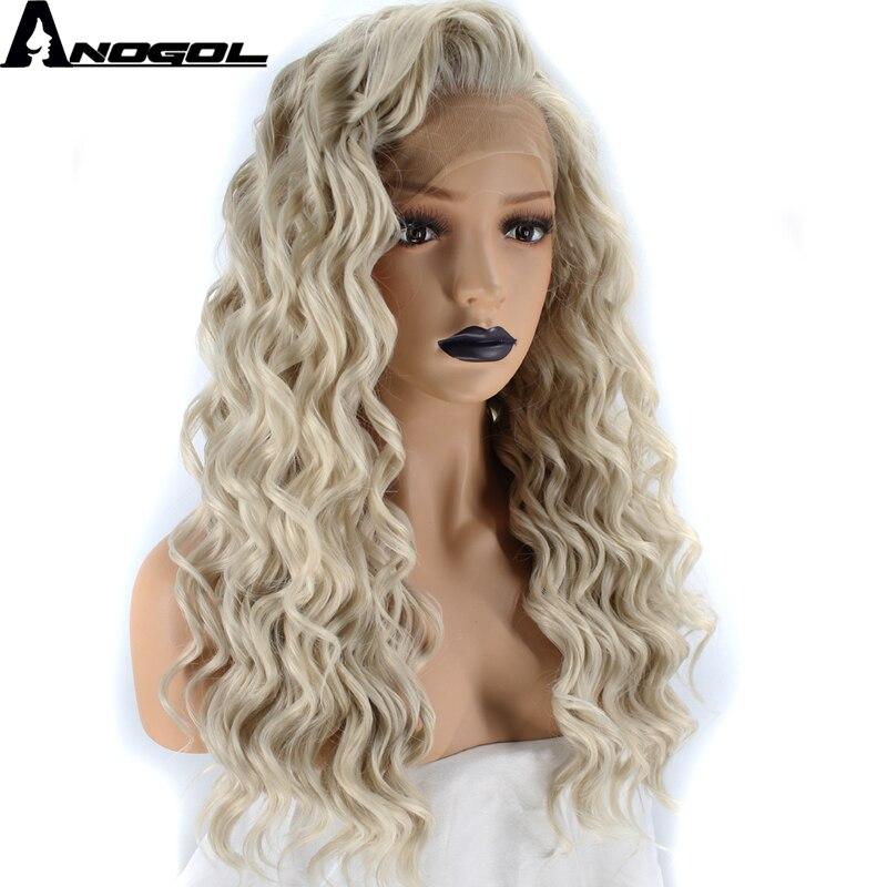 Anogol Witwe Spitzen Stil Hohe Temperatur Faser Haar Freien Teil Lange Tiefe Welle Platin Blonde Synthetische Spitze Front Perücke Für frauen