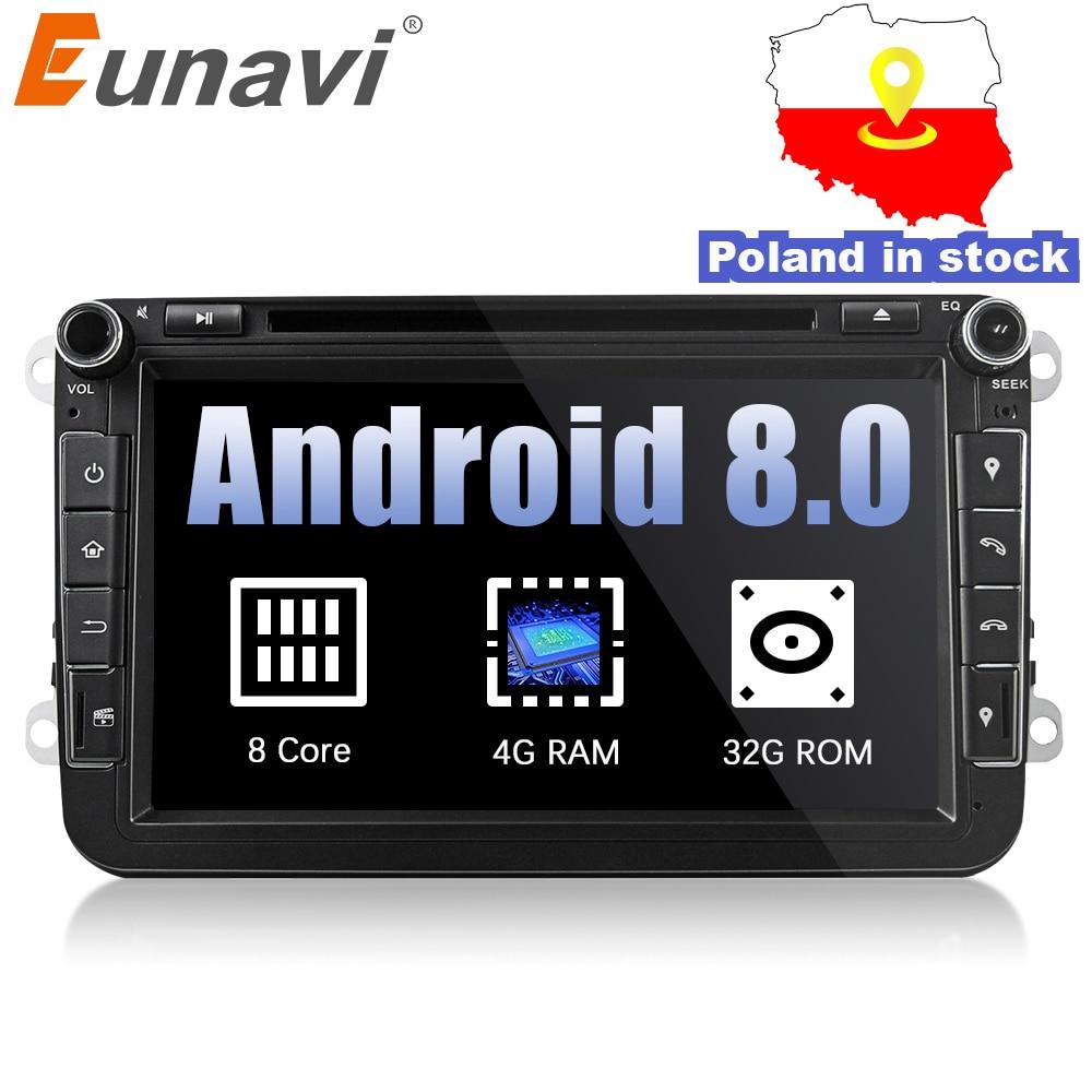 Eunavi 2 din 8 ''Octa núcleo Android 8.0 Jogador Do Carro DVD GPS para VW Passat CC Polo GOLF 5 jetta Tiguan Touran EOS Sharan T5 6 Rádio