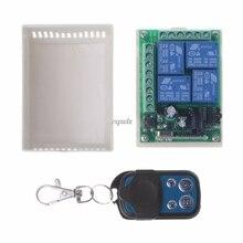 433MHz DC12V 4 canaux sans fil RF 4 relais télécommande commutateur récepteur