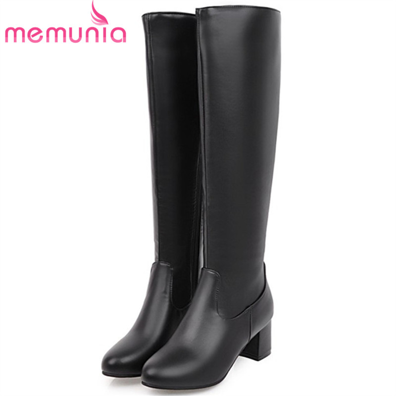 MEMUNIA Solid zip high heels shoes woman knee high boots in autumn winter boots female PU soft leather large size 34-45