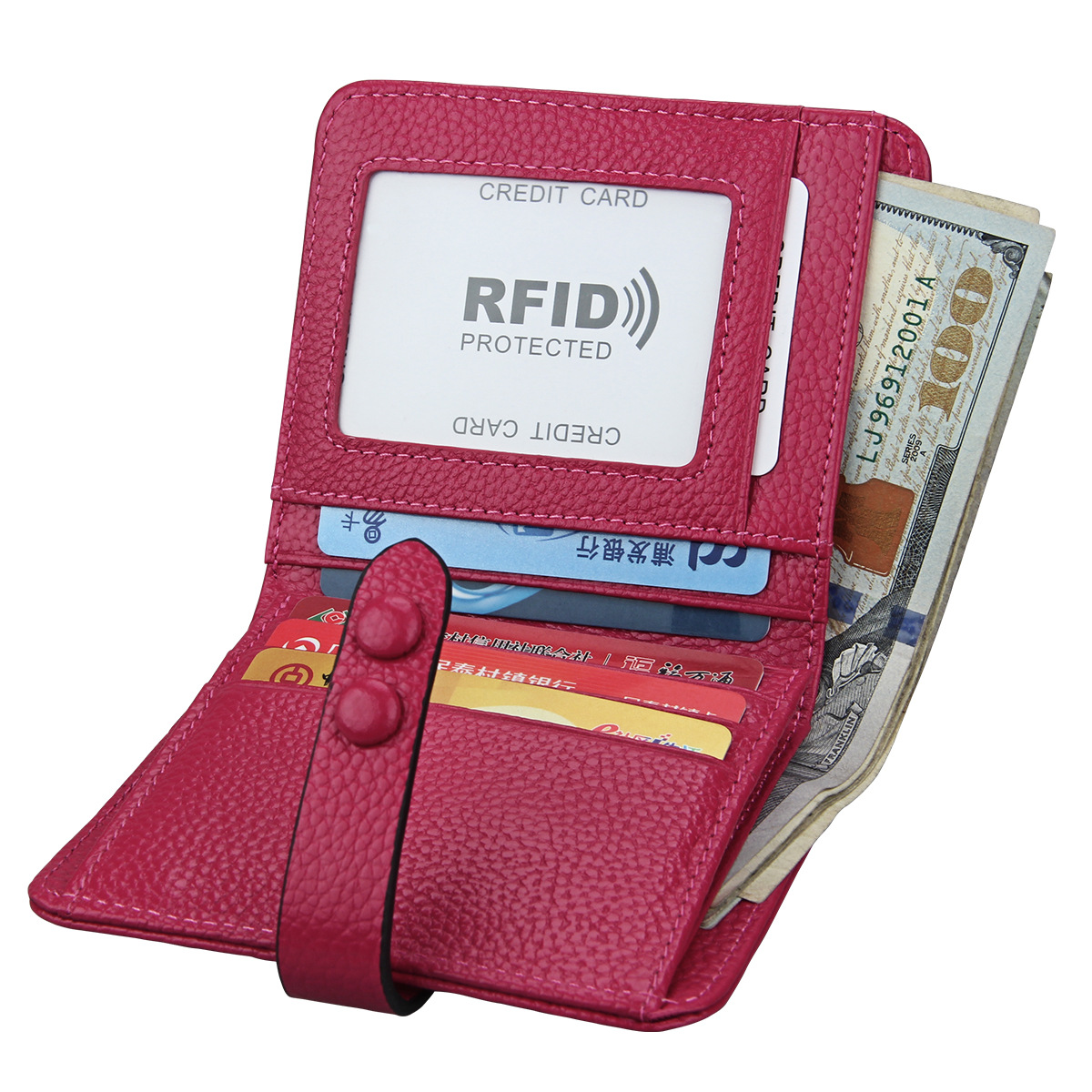 Casual Genuine Leather Ladies Short Wallet Rfid Luxury Purse Womens Hand Wallets Bolsa Couro Card Holder Leather Wallet