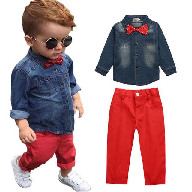 57ff4aaa8 placeholder Navidad conjunto Denim ropa para niño pajarita 2 unidades traje  otoño manga larga camisa Top +