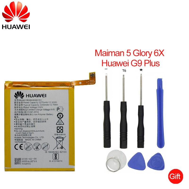 Hua Wei batería del teléfono del reemplazo HB386483ECW para Huawei honor 6X G9 más Maimang 5 MLA-AL00 MLA-AL10 G9Plus 3340 Mah