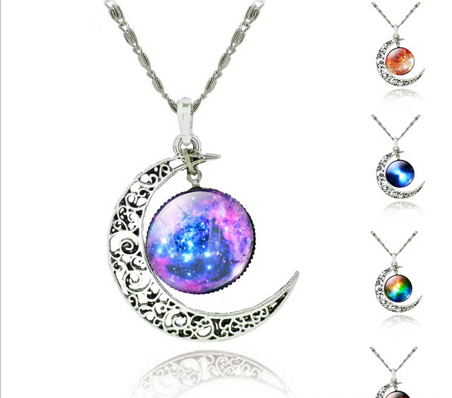 High Quality Hollow Moon Glass Galaxy Statement Pendant Necklaces Silver Chain Jewelry Collares Friend Female Best Gifts