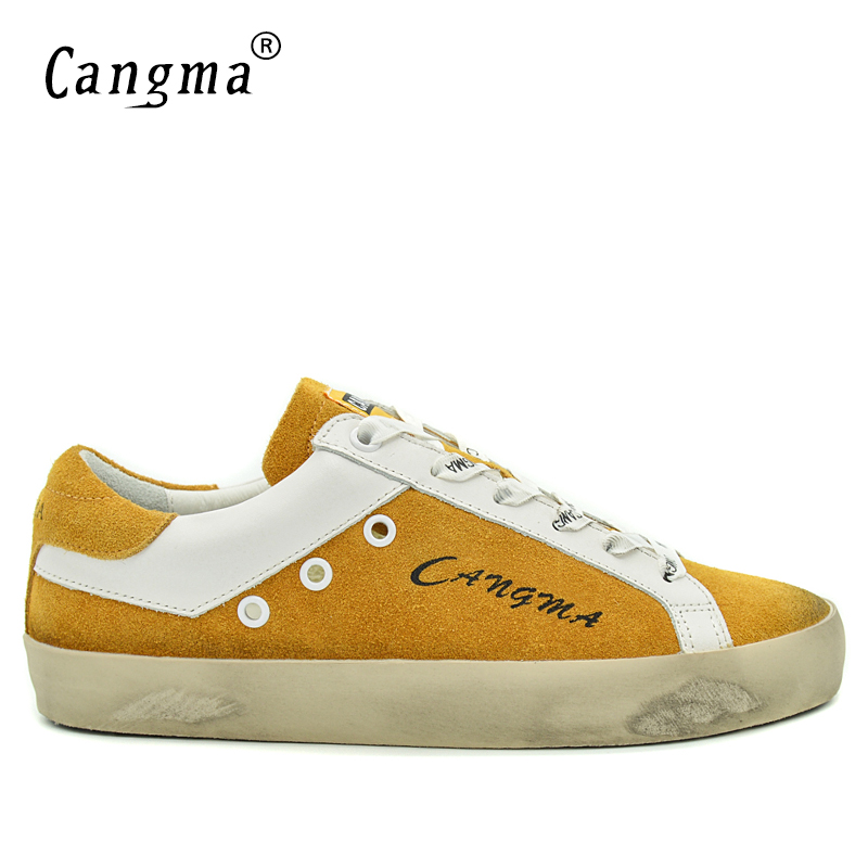 CANGMA Brand Sneakers Shoes Man Luxury Suede Footwear Genuine Leather Male Shoes Adult Casual Men Yellow Breathable Shoes 2017 vesonal 2017 brand casual male shoes adult men crocodile grain genuine leather spring autumn fashion luxury quality footwear man page 7