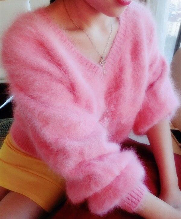 2019 Vrouwen dames Truien en pullovers Lantaarn mouwen Pure 100% Mink Cashmere Gebreide trui gratis verzending JN028-in Truien van Dames Kleding op AliExpress - 11.11_Dubbel 11Vrijgezellendag 1