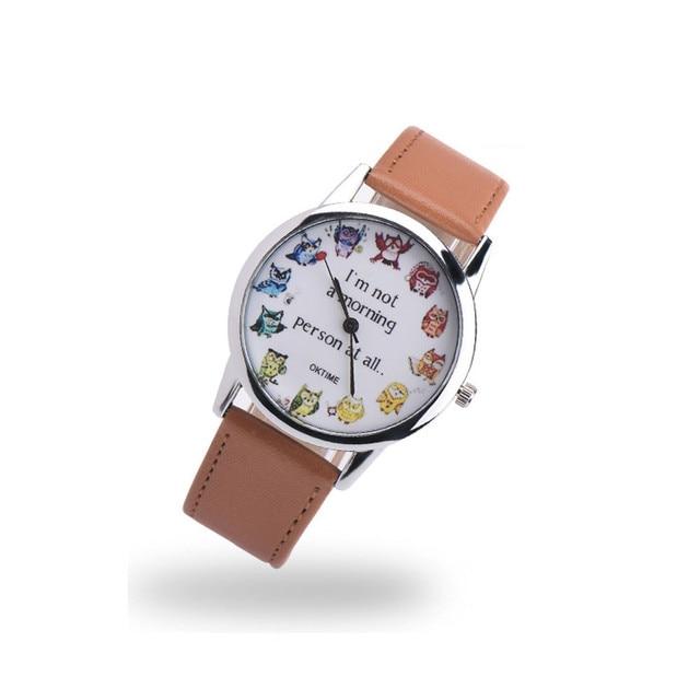 Faux Leather Watch Men Women OWL printing Analog Quartz Vogue Unisex Casual Sport Wrist Watches Fashion Watch 2018 Reloj