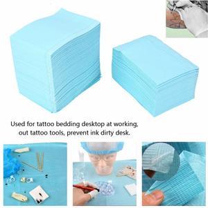 Image 2 - 125 Vellen Wegwerp Tattoo Mat Tattoo Handdoek Waterdicht Double Layer Papier Tattoo Accessoires Beauty Body Art Supplies