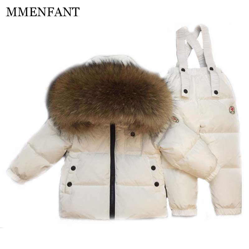 2017 Children Matte Down jackets Clothing Sets 2PCS Coat + Trousers Winter Kids ski Suits Boys & Girls Hooded fur Outerwear Suit 2017 winter children clothing set russia baby girl ski suit sets boy s outdoor sport kids down coats jackets trousers 30degree