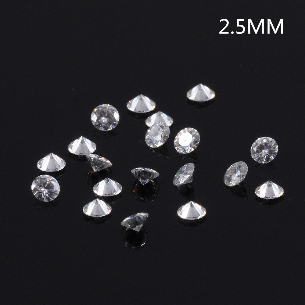 TransGems 2.5mm = 0.065 carat Total 1 CTW F Couleur Certifié Lab Grown Moissanite Diamant Lâche Cordon de Test Positif