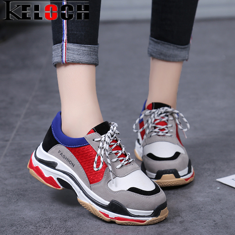 Keloch New European style Women Sneakers Spring Autumn Women Running Shoes Men Comfortable Breathable Platform Couple Sneakers
